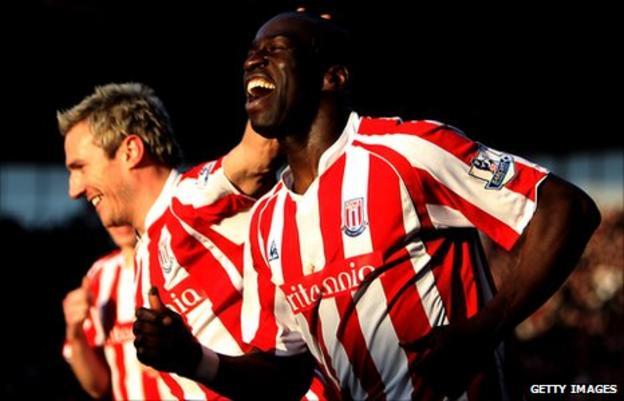 Mamady Sidibe celebrates after scoring for Stoke City