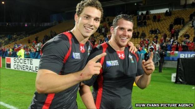 George North and Ryan Bevington celebrate Wales' 81-7 win over Namibia