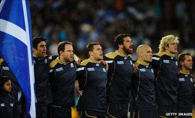 Scotland line up against England on Saturday in Auckland