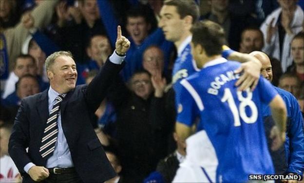 Rangers manager Ally McCoist celebrates the second goal against Kilmarnock