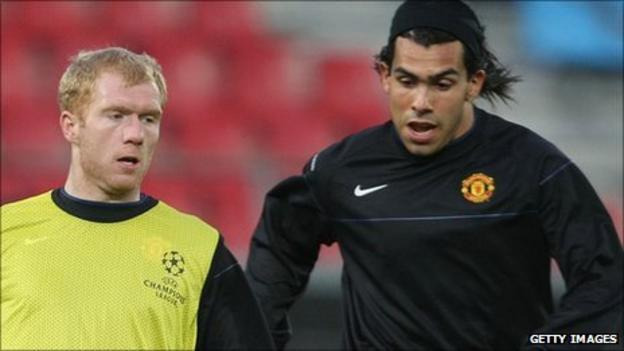 Paul Scholes and Carlos Tevez