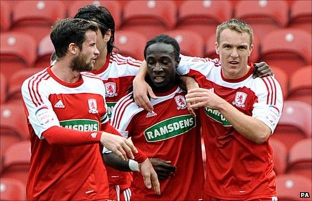 Marvin Emnes and his Middlesbrough team-mates celebrate a goal against Coventry earlier this season