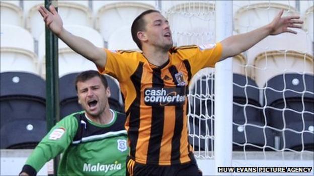 Matty Fryatt celebrates after giving Hull the lead