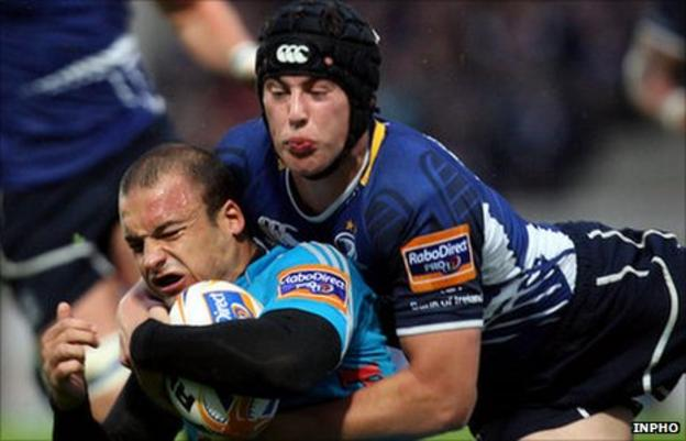Aironi's Ruggero Trevisan and Leinster's Noel Reid