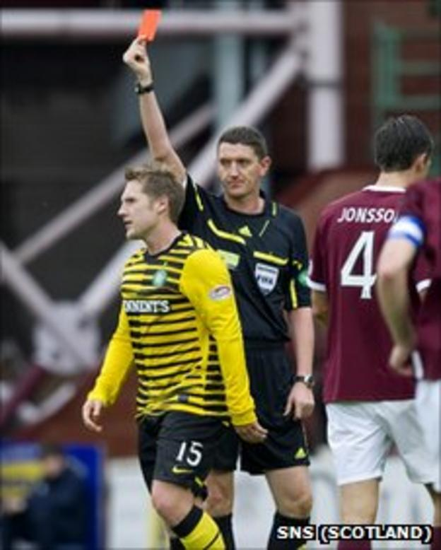 Kris Commons was sent off after 65 minutes