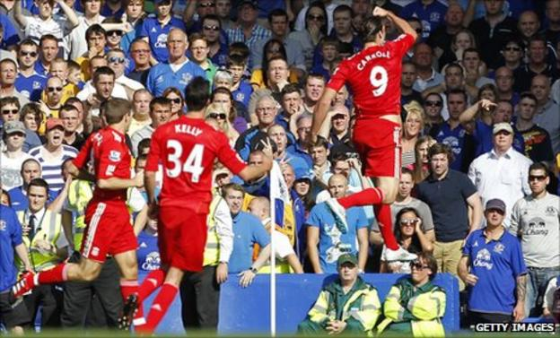 Andy Carroll celebrates his goal against Everton