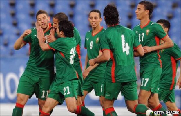 Adel Taarabt of Morocco (far left)