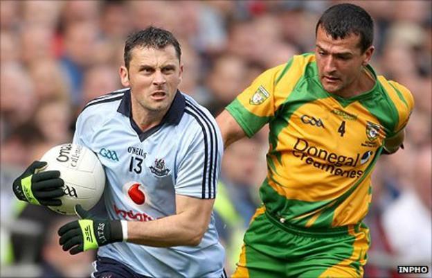 Dublin's Alan Brogan and Frank McGlynn of Donegal