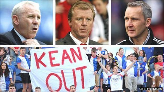 (Clockwise from top left) Peter Reid, Steve McClaren, Keith Millen and Blackburn fans protesting against manager Steve Kean