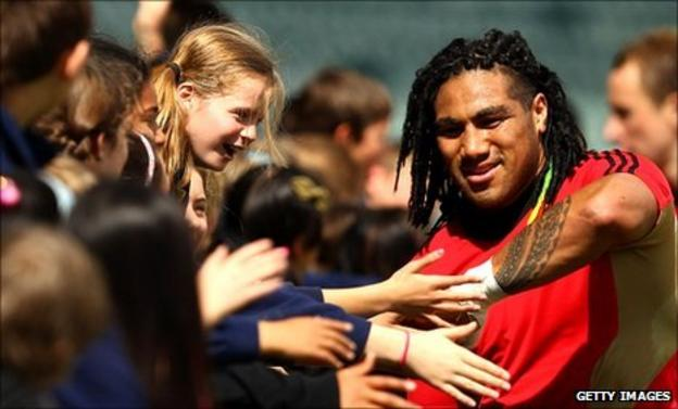 Ma'a Nonu greets fans at North Harbour Stadium