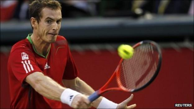 Andy Murray playing Alex Bogomolov Jr. at the Japan Open