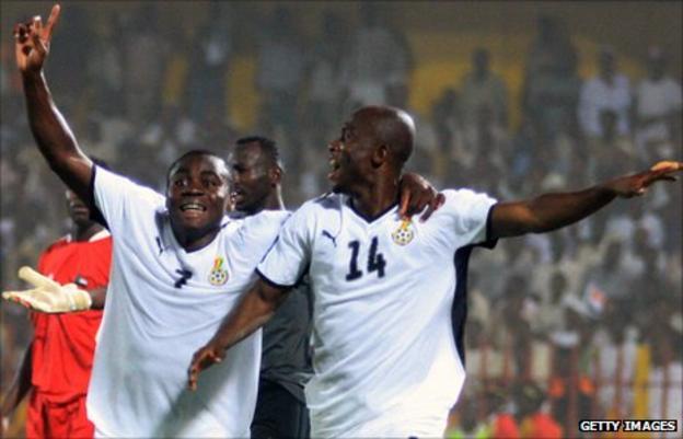 Ghana's Matthew Amoah (right)