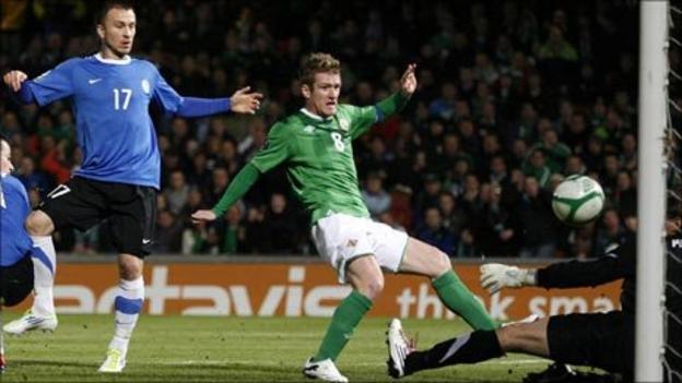 Steven Davis scores his fourth international goal at Windsor Park