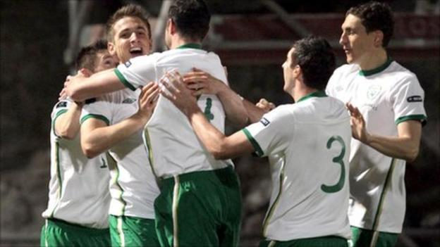 Kevin Doyle celebrates with Republic team-mates after scoring against Andorra