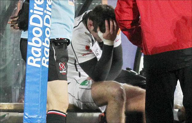 The injured Jared Payne on the Ulster bench