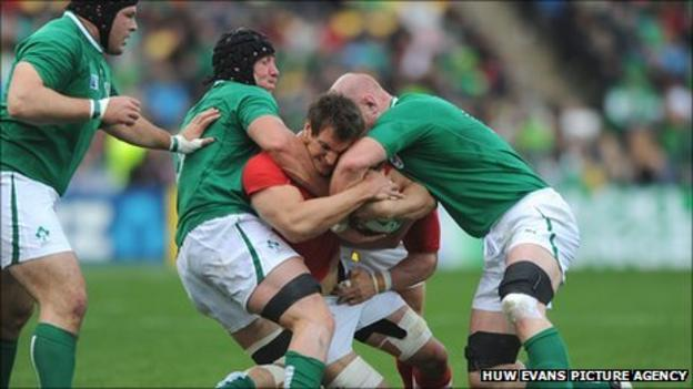 Wales captain Sam Warburton wrestles for possession in the win over Ireland