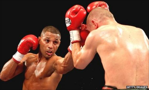 Kell Brook (left) lands another jab against Rafal Jackiewicz
