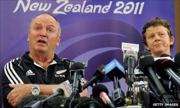 NZ coach Graham Henry speaks to the media alongside All Blacks doctor Deb Robinson on Monday