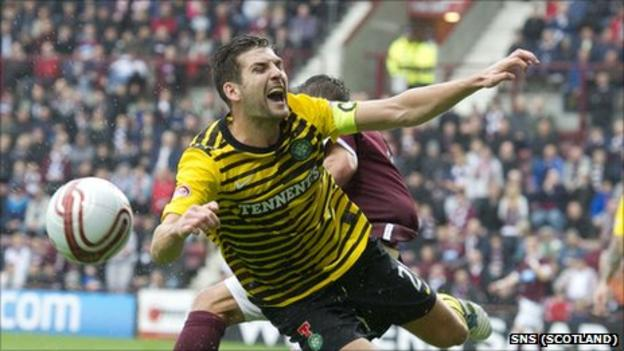 Celtic defender Charlie Mulgrew in action in the defeat by Hearts