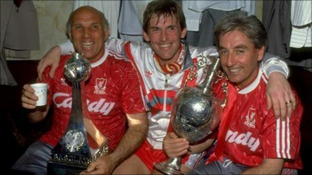 Liverpool trio Ronnie Moran, Kenny Dalglish and Roy Evans