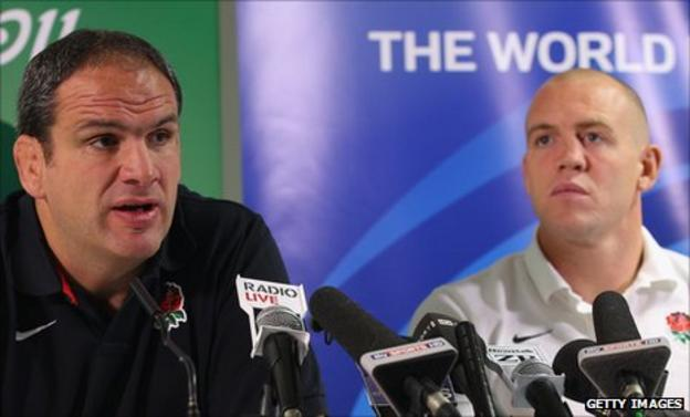 Martin Johnson (left) and Mike Tindall (right)