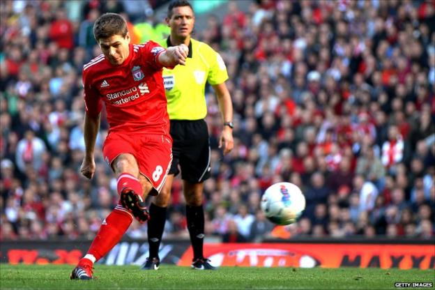 Steven Gerrard of Liverpool takes a free-kick