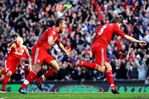 Steve Gerrard scores for Liverpool