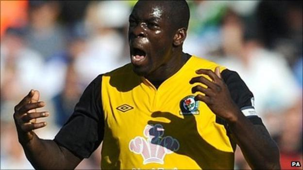 Christopher Samba celebrates scoring for Blackburn