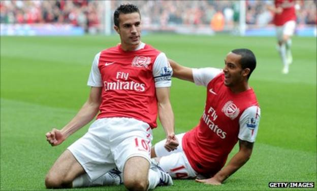 Robin van Persie celebrates his first goal with Theo Walcott