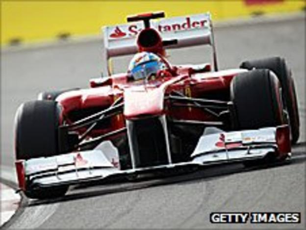 Fernando Alonso's Ferrari in the Korean Grand Prix