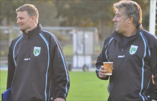 Guernsey FC boss Tony Vance (left) and assistant Colin Fallaize