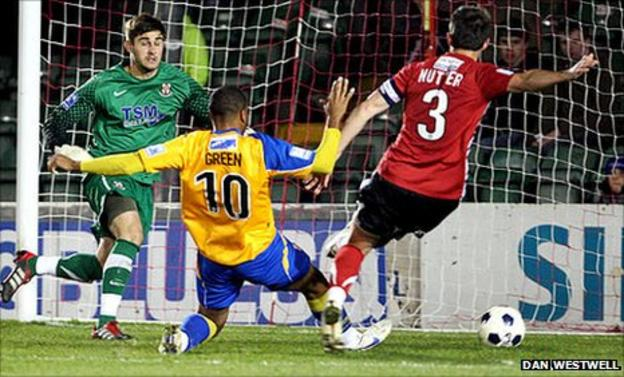 Matthew Green scores Mansfield's equaliser against Lincoln