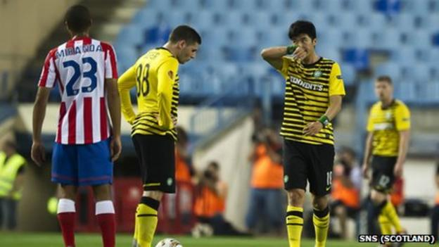 Celtic players in the Europa League defeat by Atletico Madrid