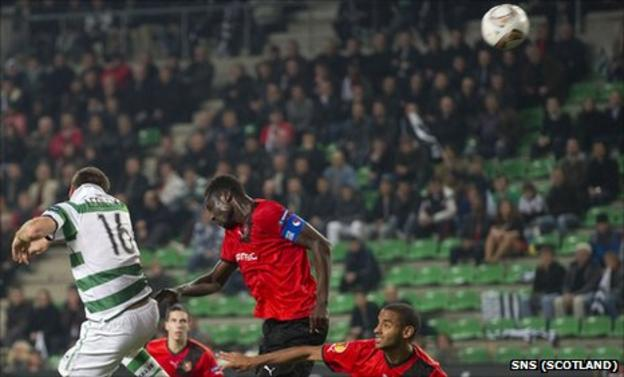 Celtic midfielder Joe Ledley scores against Rennes