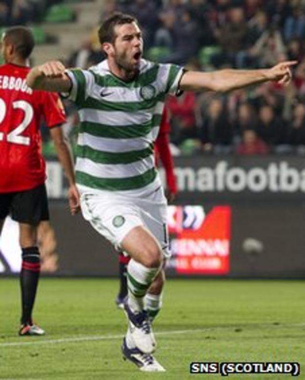 Joe Ledley celebrates his equaliser against Rennes