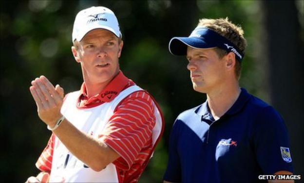 Luke Donald (right) with caddie Gareth Lord