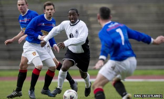 Russell Latapy in action for Edinburgh City against Irvine Meadow