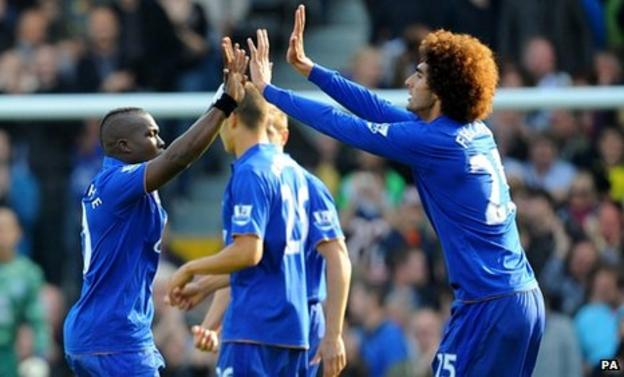 Royston Drenthe celebrates with Marouane Fellaini after scoring for Everton