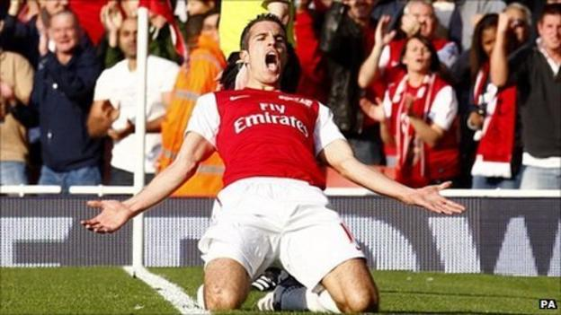 Robin van Persie scored twice after coming off the bench