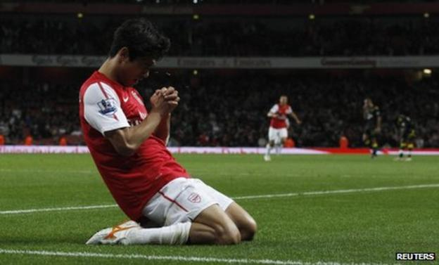 Arsenal striker Park Chu-Young celebrates scoring the winner