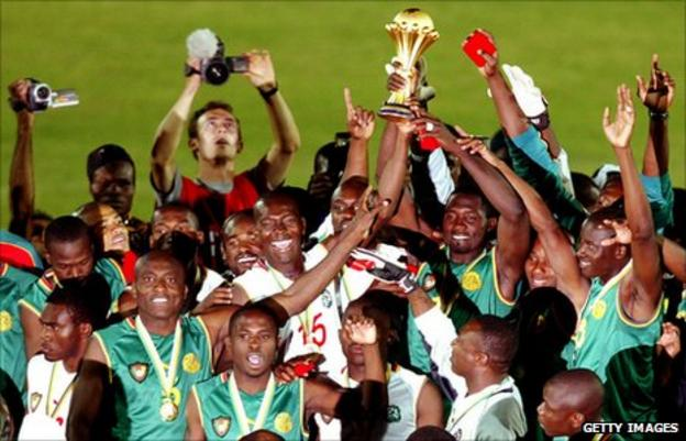 Cameroon celebrate winning the 2002 Africa Cup of Nations