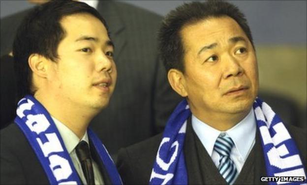 Leicester City vice-chairman Aiyawatt Raksriaksorn (left) and chairman Vichai Raksriaksorn