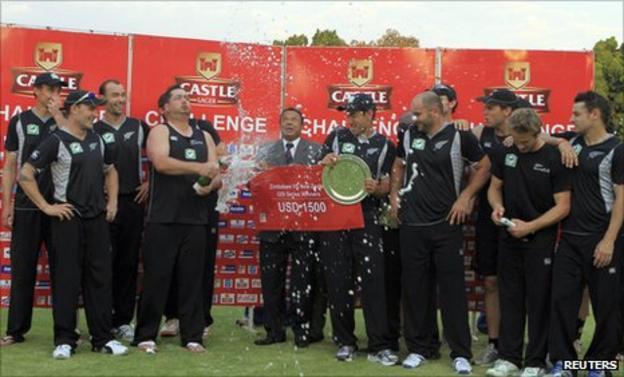 New Zealand celebrate winning the ODI series