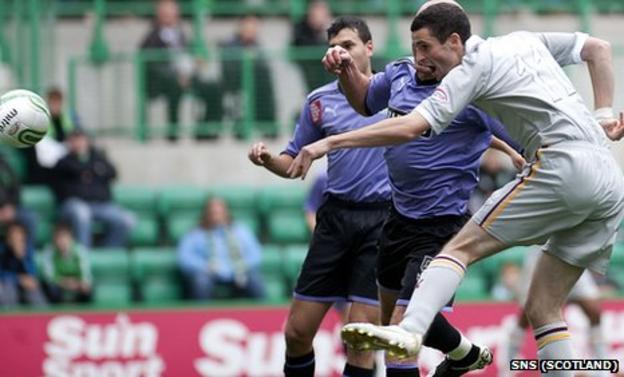 Jamie Murphy nets an early header at Easter Road