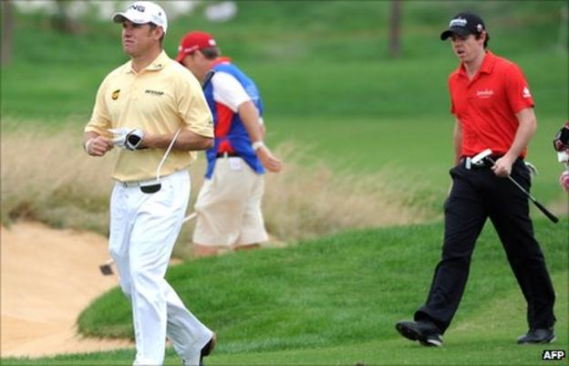 Lee Westwood (left) with Rory McIlroy