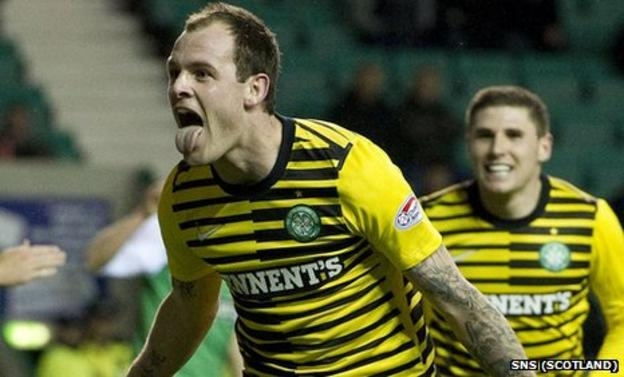 Anthony Stokes celebrates scoring against Hibs at Easter Road