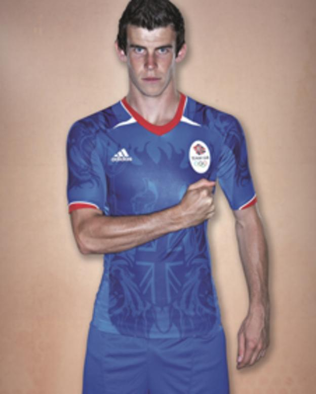 Gareth Bale wearing the Team GB London 2012 football supporters' shirt