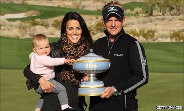Luke Donald with his wife Diane and daughter Elle