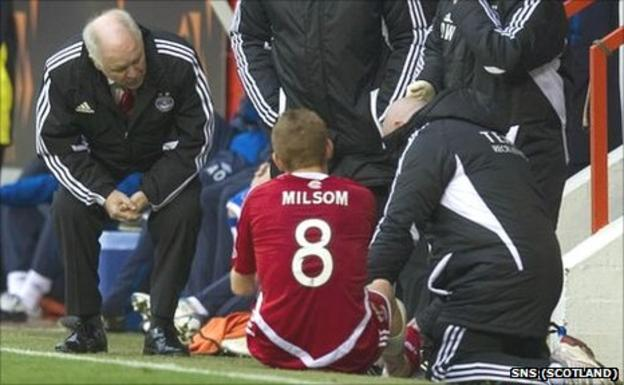 Craig Brown assesses the damage to Rob Milsom's leg