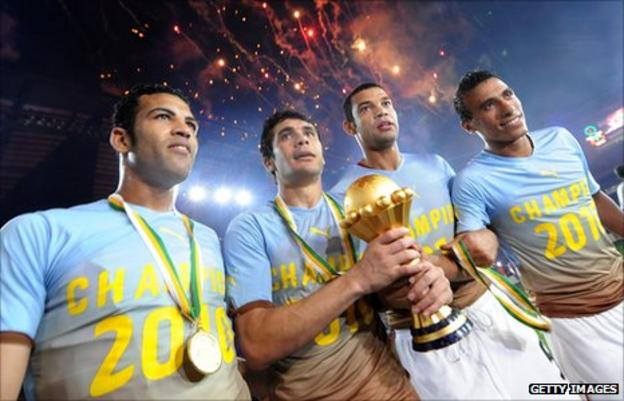 Egypt players with trophy